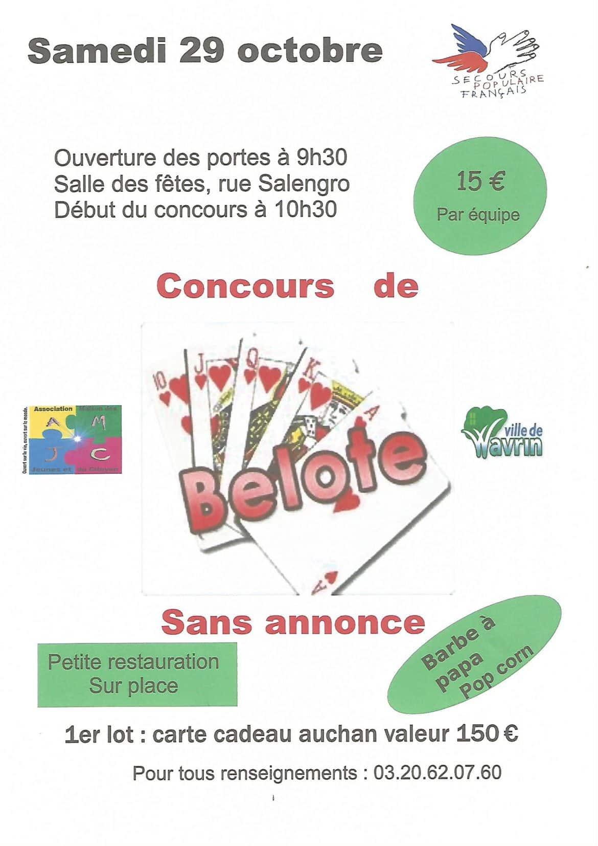 Affiche du concours de belote samedi 29 Octobre 2016 à Wavrin - 59