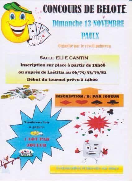 concours de belote le 13 novembre 2016 à Paulx (44)