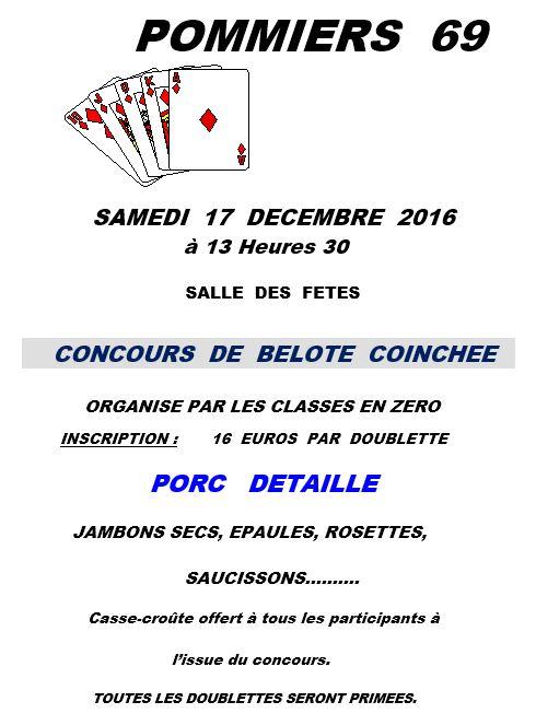 Affiche Concours de belote coinchée le 12 décembre 2016 à Pommiers