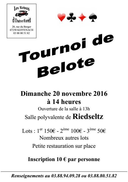 Tournoi de belote dimanche 20 novembre 2016 à 67160 Riedseltz