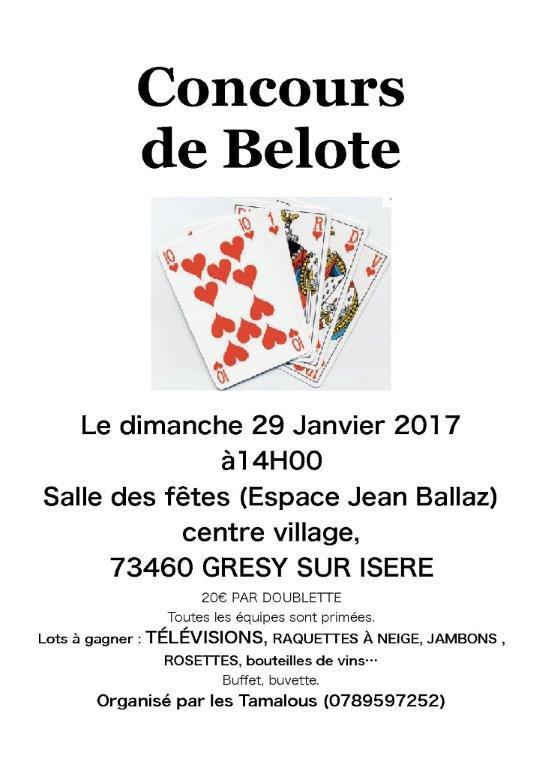 affiche tournoi de belote le dimanche 29/01/2017 à GRESY SUR ISERE 73
