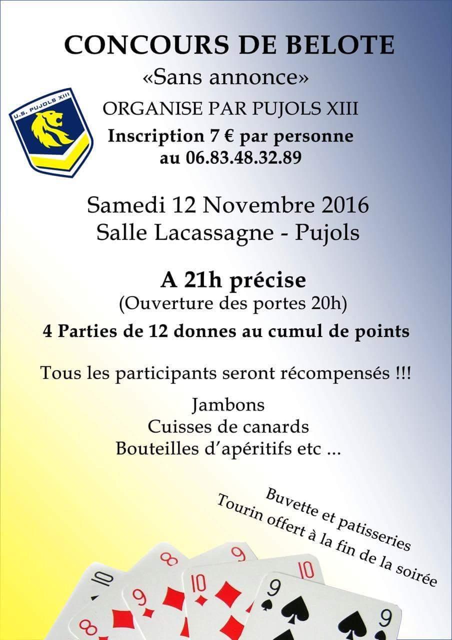 concours de belote samedi 12 novembre 2016 à Pujols (47)