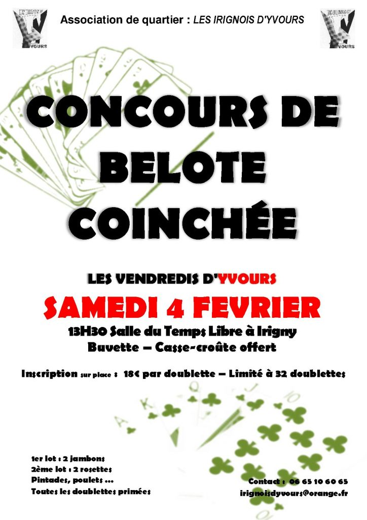 Affiche du Concours de belote coinchée le 4 février 2017 à Irigny - Rhône