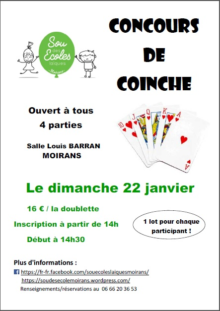 Affiche Concours de coinche le 22 janvier 2017 à Moirans