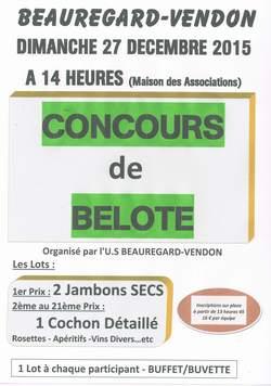 Affiche du Concours de belote le 17 décembre 2016 à Beauregard-Vendon (Puy-de-Dôme)