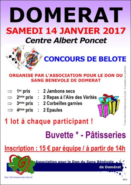 affiche du concours de belote organisé samedi 14 janvier 2017 à Domerat, dans l'Allier