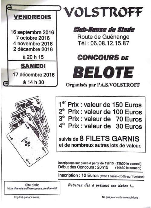 Affiche du concours de belote samedi 17 décembre 2016 à Volstroff