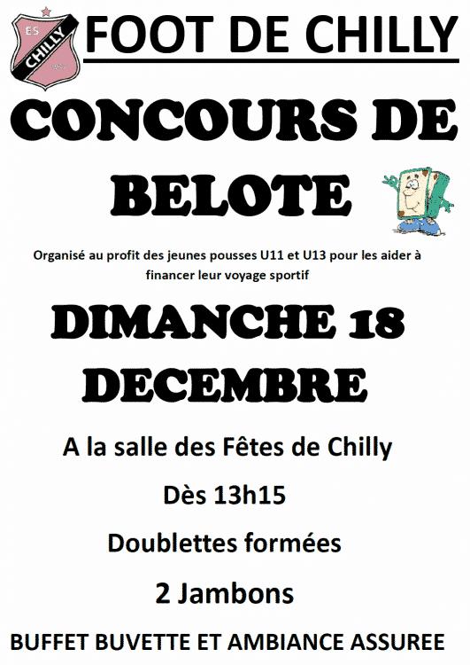 Affiche Concours de belote dimanche 18 décembre 2016 à Chilly - 74270