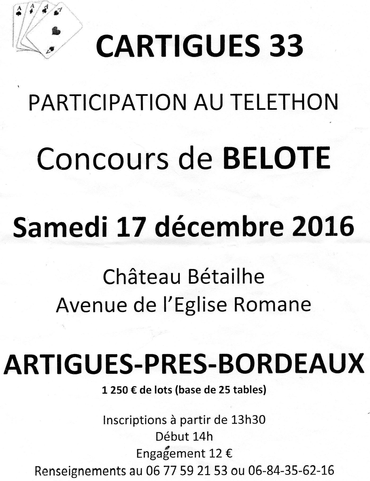 Affiche du concours de belote samedi 17 décembre 2016 à Artigues près de Bordeaux
