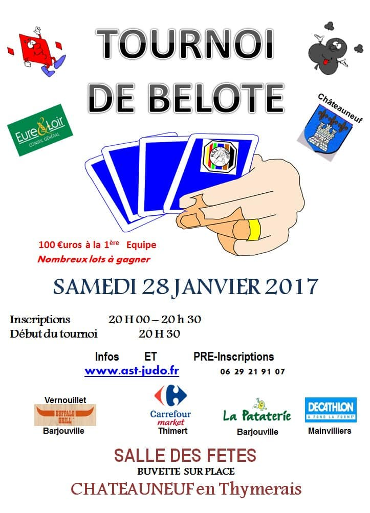 Affiche du Tournoi de belote samedi 28 janvier 2017 à Chateauneuf en Thymerais