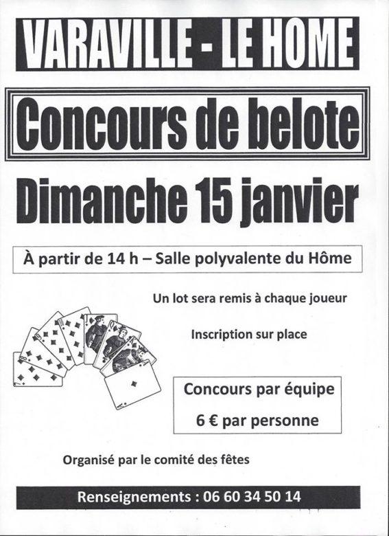 Affiche Concours de belote dimanche 15 janvier 2017 à Varaille-le Home (14)