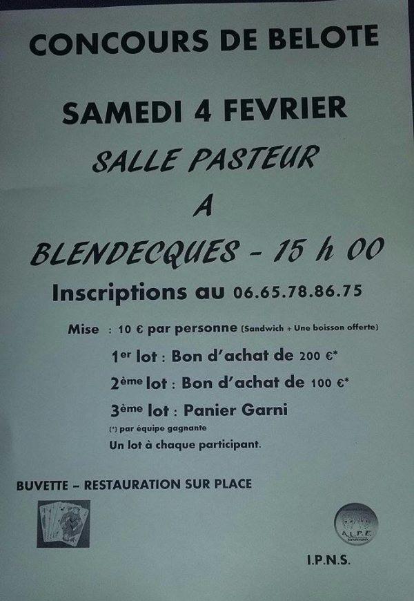 Affiche du Concours de belore le 4 février 2017 à Blendecques - Pas de Calais