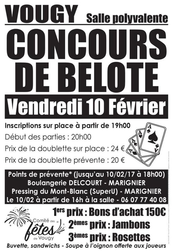 Affiche du concours de belote le 10 février 2017 Vougy - Haute Savoie