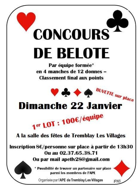 Concours de Belote le 22 janvier 2017 à Tremblay les Villages (28170)