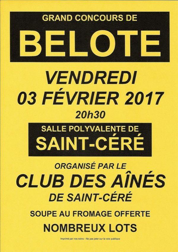 Concours de belote le 3 février 2017 à Saint-Céré – Lot