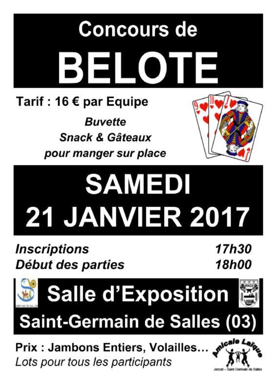 Affiche Tournoi de belote samedi 21 janvier 2017 à 03140 Saint Germain de Salles