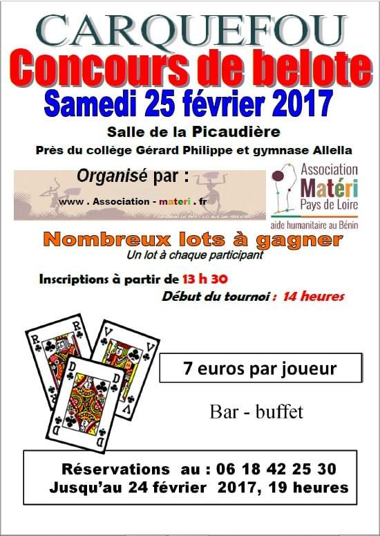 Affiche Concours de Belote samedi 25 février 2017 à 44470 Carquefou
