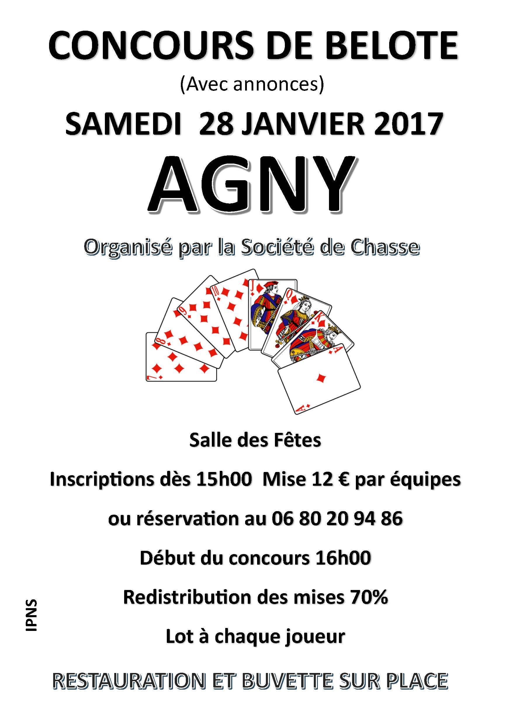 Affiche Concours de belote le Samedi 28 Janvier 2017 à AGNY (62)