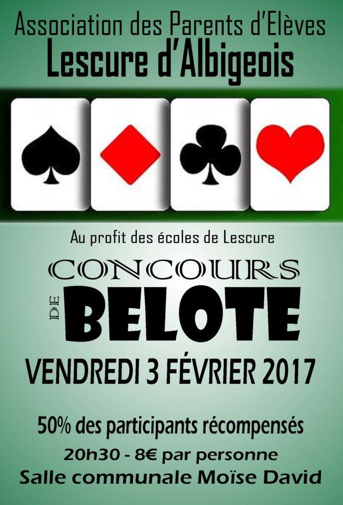 Affiche du Tournoi de belote vendredi 3 février 2017 à Lescure d'Albigeois