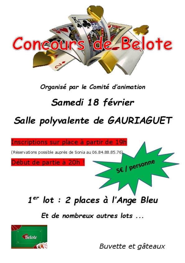 Concours de belote le 18 février 2017 à Gauriaguet – Gironde