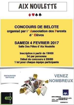 Affiche du Concours de belote le 4 février 2017 à Aix Noulette (62)