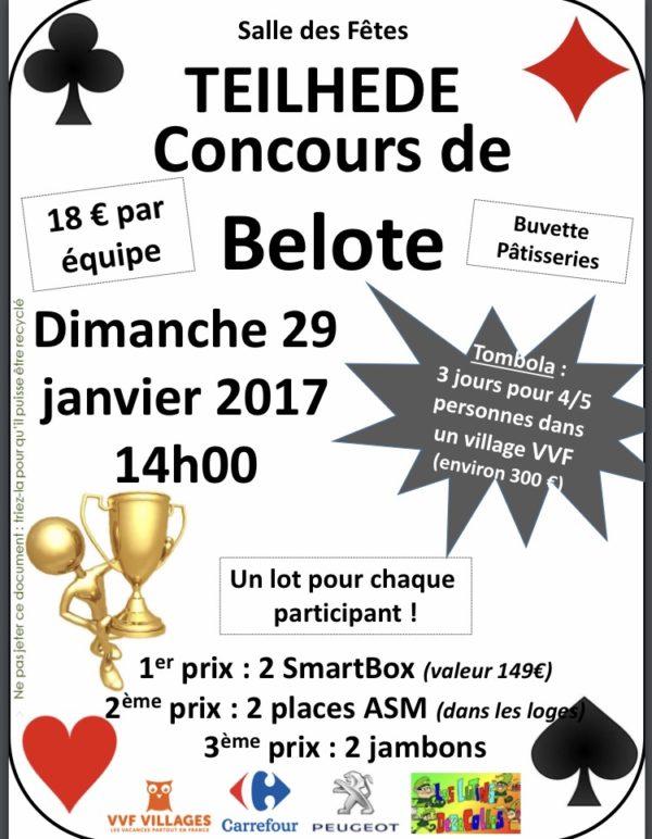 Affiche Concours de belote le 29 janvier 2017 à Teilhede