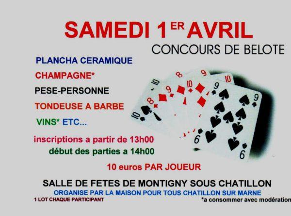 Tournoi de belote le 1er avril 2017 à Montigny Sous Chatillon – 51