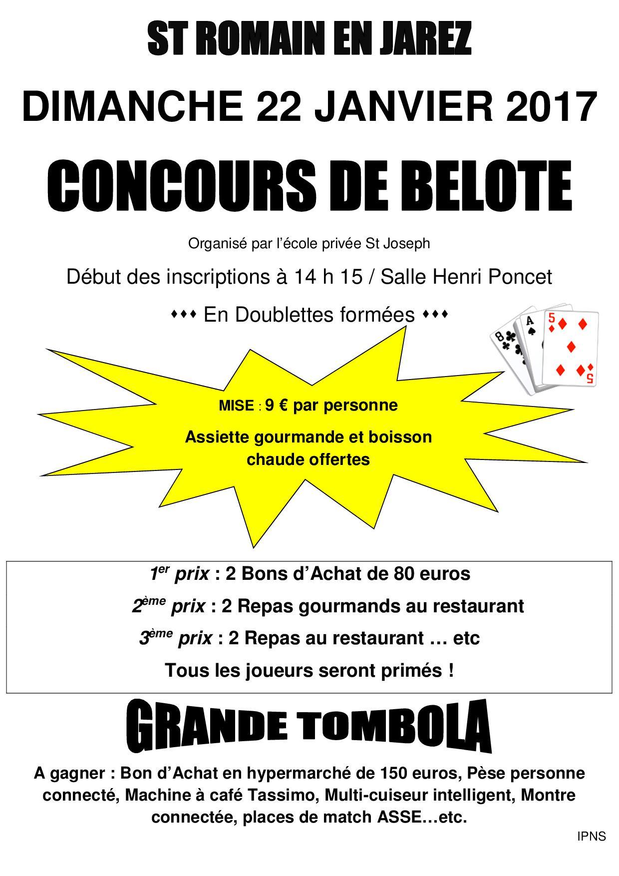 Concours de belote dimanche 22 janvier 2017 à St Romain en Jarez