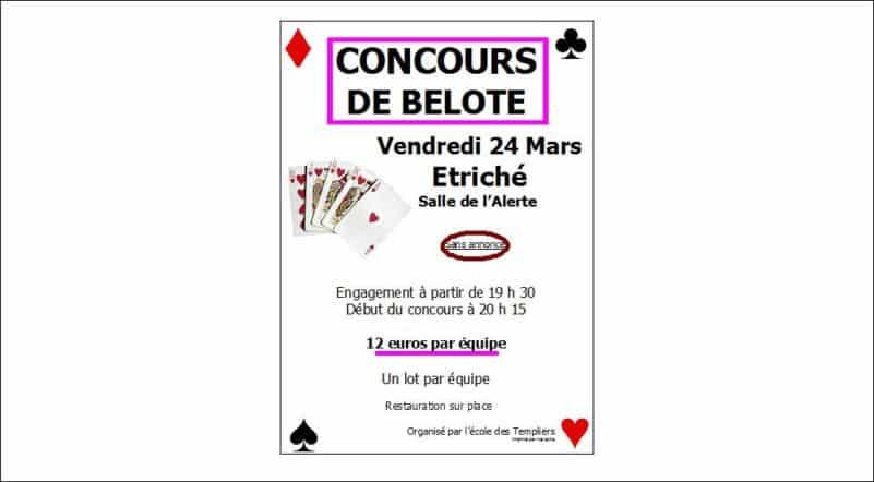affiche Tournoi de belote à Étriché vendredi 24 Mars 2017