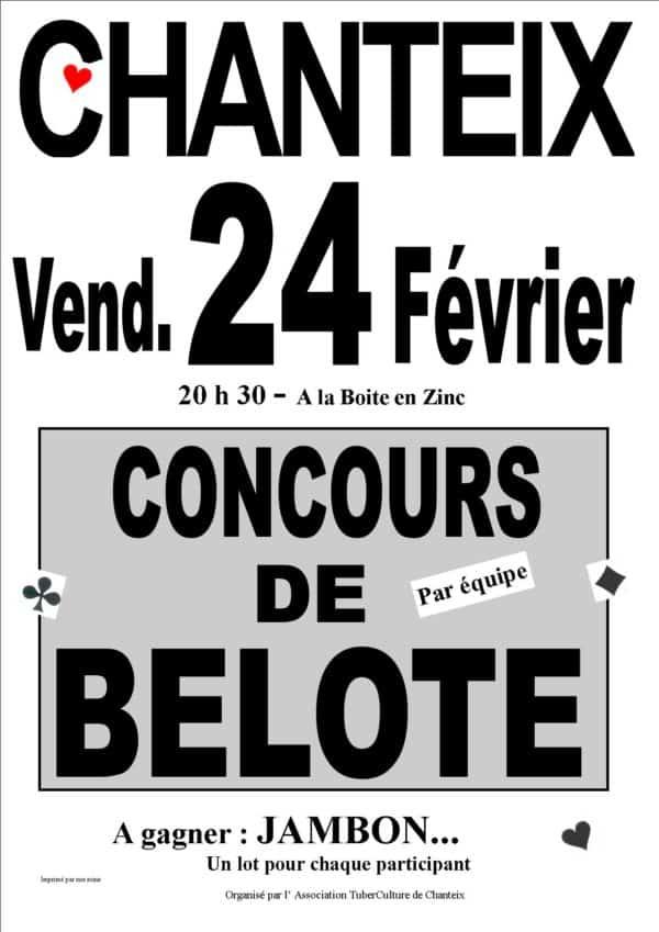 affiche concours de belote le 24 février 2017 à Chanteix - Corrèze