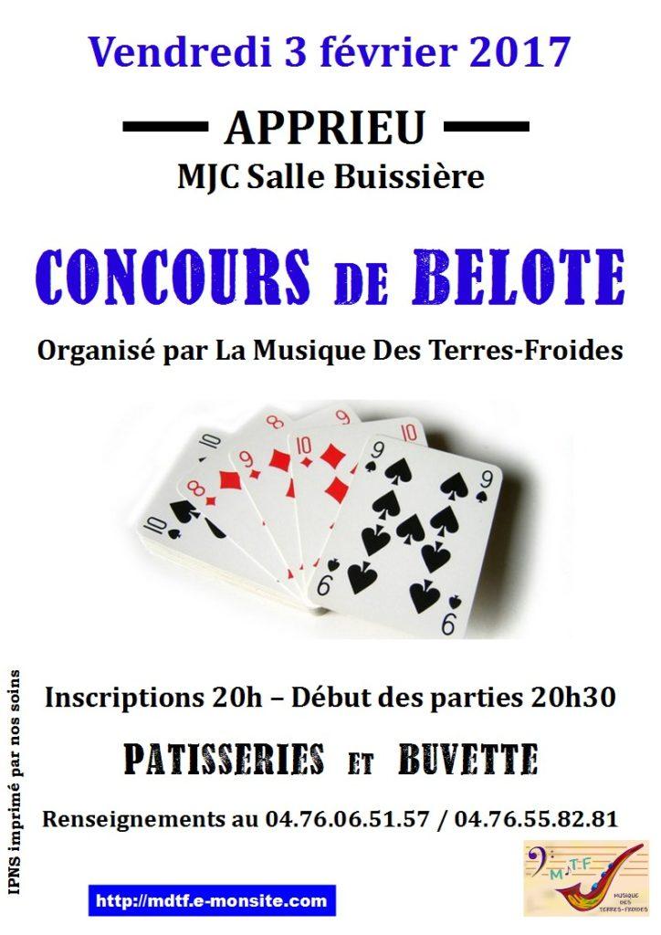 Affiche du Concours de belote le 3 février 2017 à Apprieu - Isère
