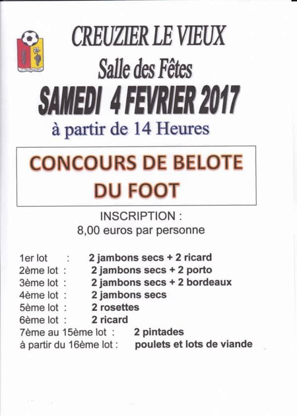 Affiche Tournoi de belote le 4 février 2017 à Creuzier Le Vieux - Allier