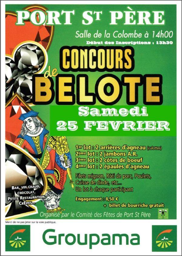 Affiche Concours de belote le 25 Février 2017 à Port Saint Père - 44