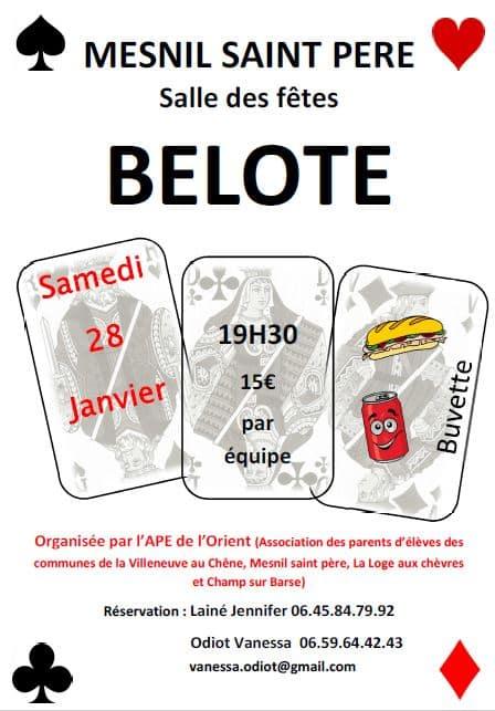 Concours de belote le 28 janvier 2017 à Mesnil Saint Père (10 – Aube)