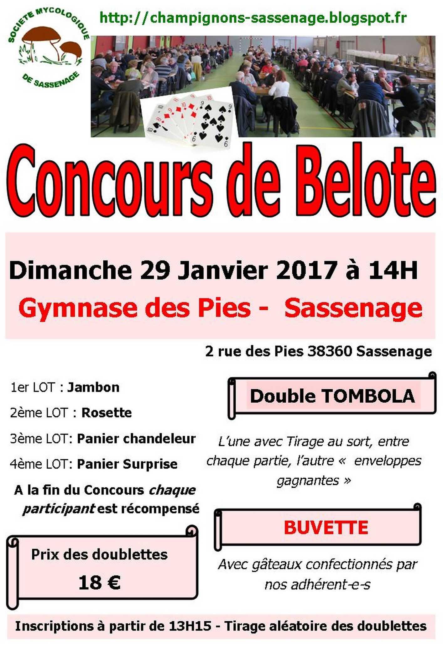 Affiche Concours de belote dimanche 29 janvier 2017 à Sassenage