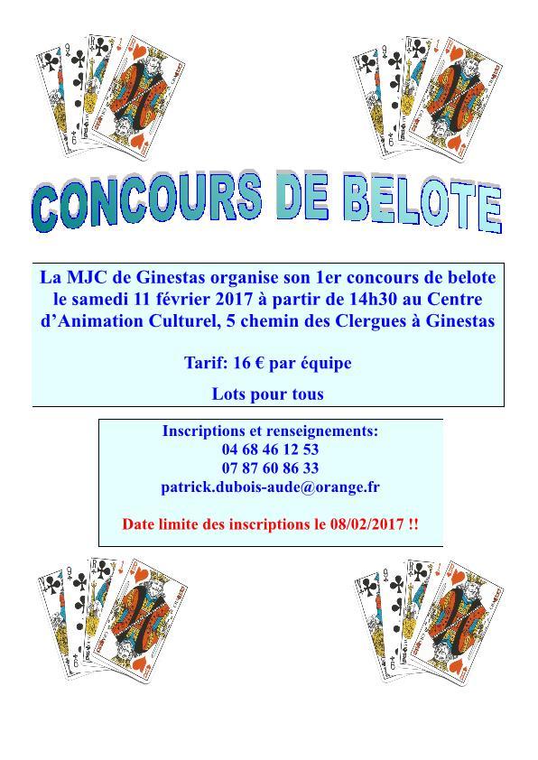 Affiche du Concours de belote le 11 février 2017 à Ginestas 11120