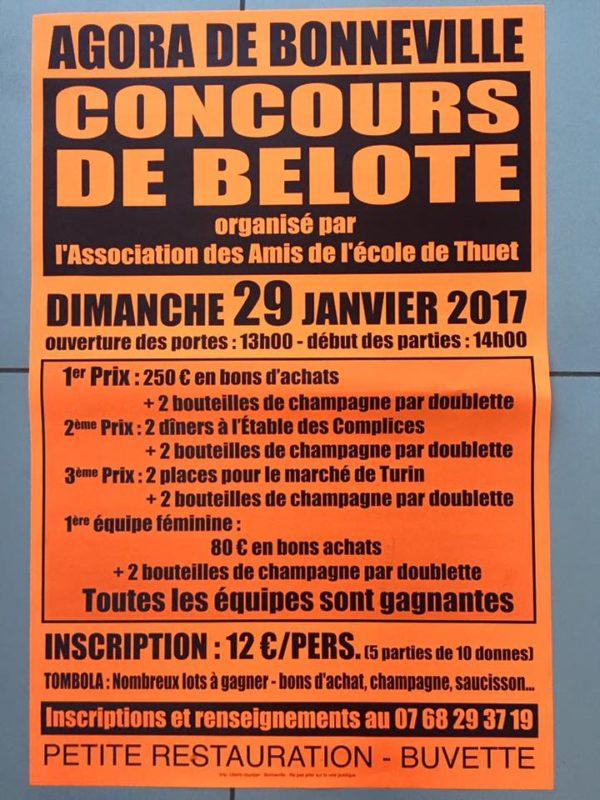 Affiche du Concours de belote dimanche 29 janvier 2017 à Bonneville - 74