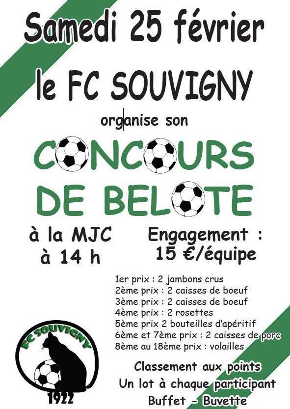 Affiche Concours de belote samedi 25 février 2017 à Souvigny - Allier