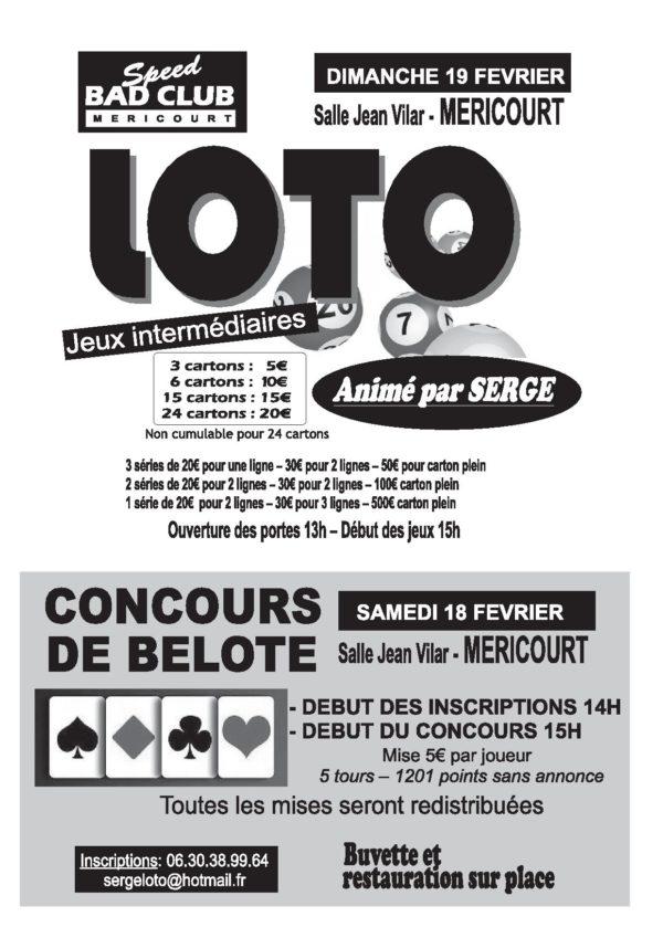 Affiche Tournoi de belote samedi 18 février 2017 à Méricourt - Pas de Calais