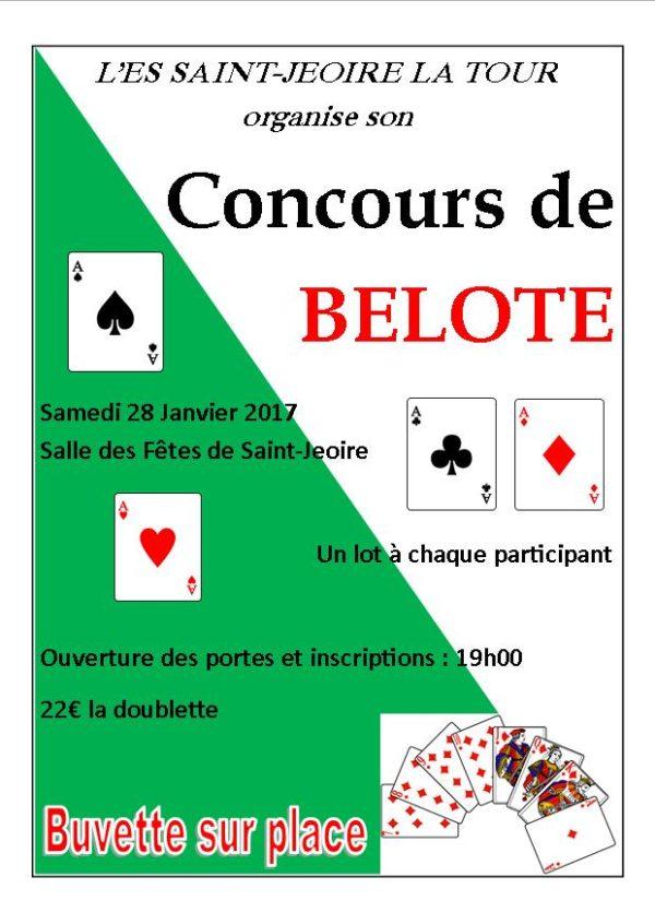 Affiche du Concours de Belote le 28 Janvier 2017 à Saint-Jeoire (74)