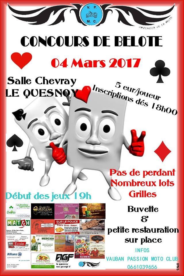 Afiche Concours de belote le 4 mars 2017 à Le Quesnoy - Nord