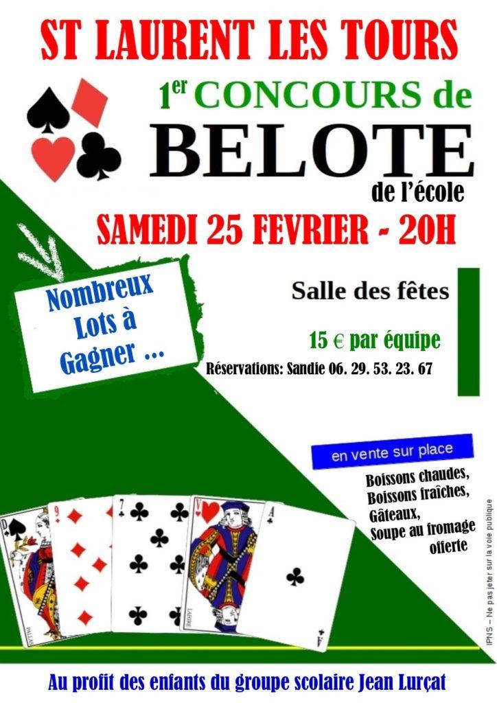 Affiche du Concours de belote samedi 25 février 2017 à Saint-Laurent-les-Tours (46)