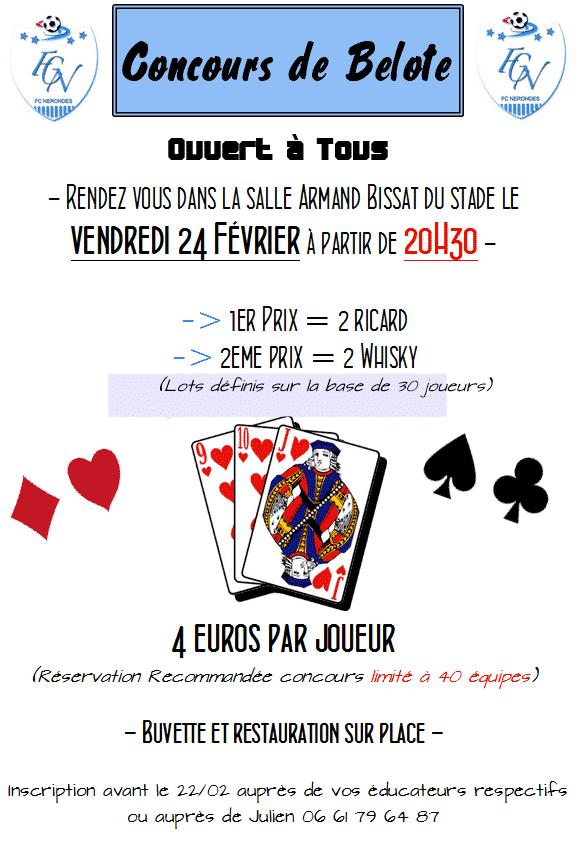 Affiche Tournoi de belotes le 24 février 2017 au stade Jean Madrak Fc Nérondes
