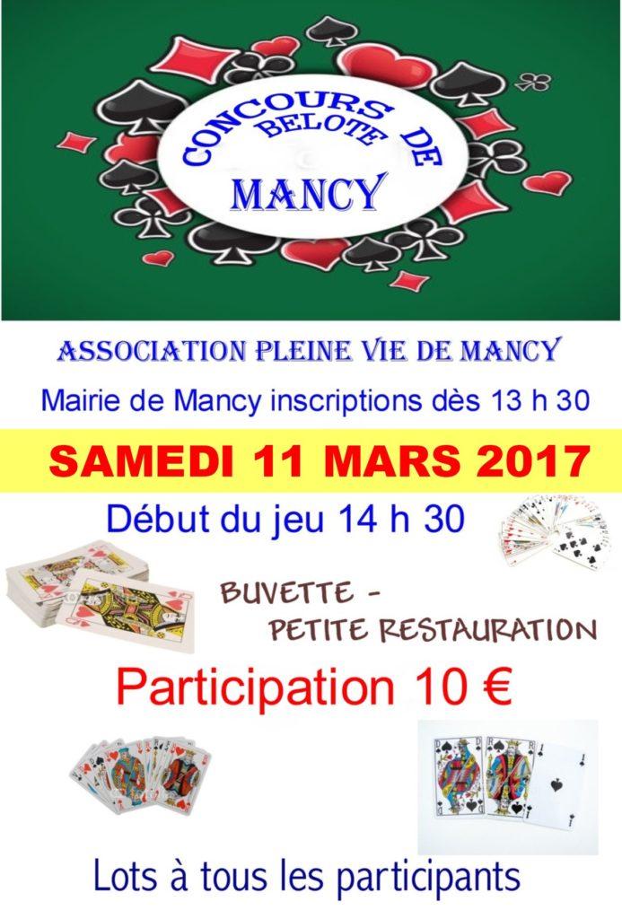 Affiche Tournoi de belote le 11 mars 2017 à Mancy - Marne