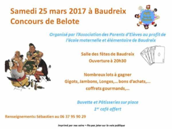 Affiche Concours de belote le 25 mars 2017 à Baudreix - Pyrénées Atlantiques