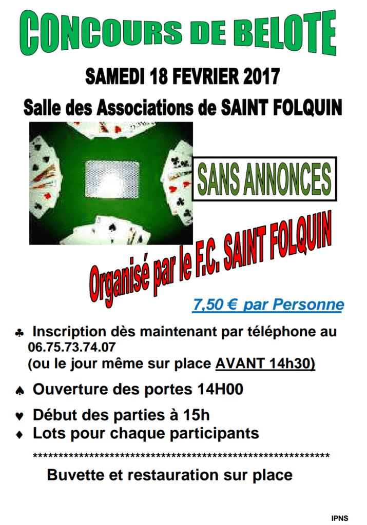 Affiche Concours de belote samedi 18 février 2017 à Saint-Folquin (62)