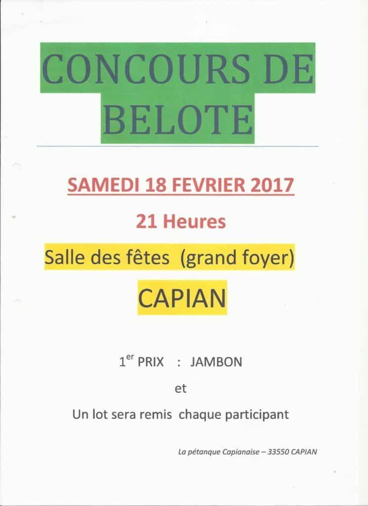 affiche Tournoi de belote le 18 février 2017 à CAPIAN (Gironde)