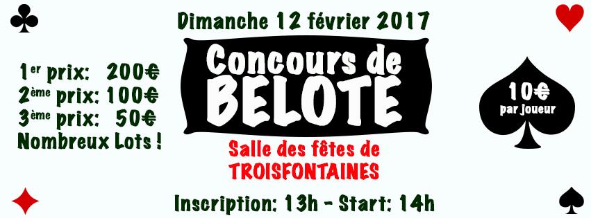 Affiche Concours de belote le 12 février 2017 à Troisfontaines (57)