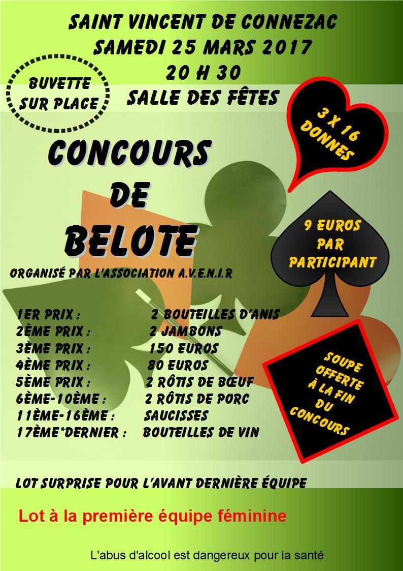 Concours de belote le 25 mars 2017 à Saint Vincent de Connezac