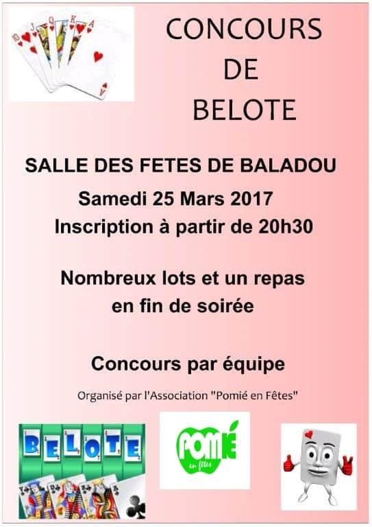 Affiche Concours de belote par équipe le 25 mars 2017 à Baladou 46600